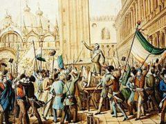 BFJK68 Daniel Manin proclaiming Venetian republic in St Marks Square Venice March 23 1848